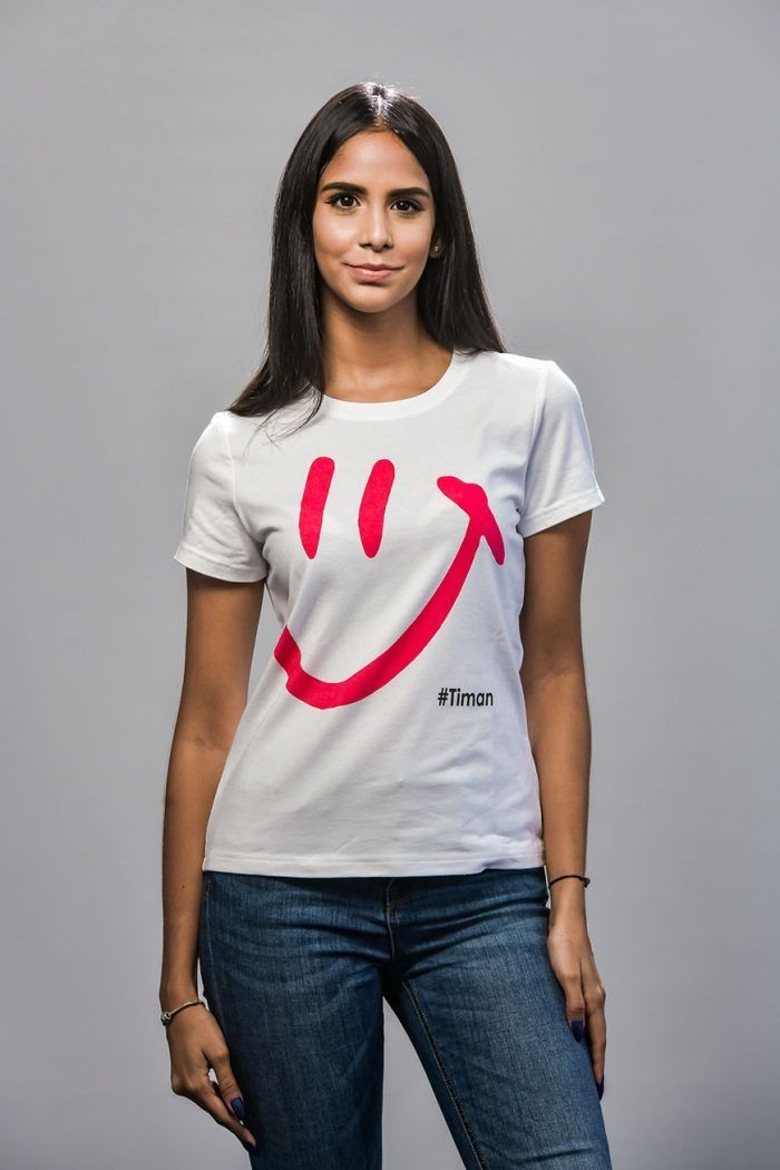 Women's Pink Luna White T-Shirt Model 1