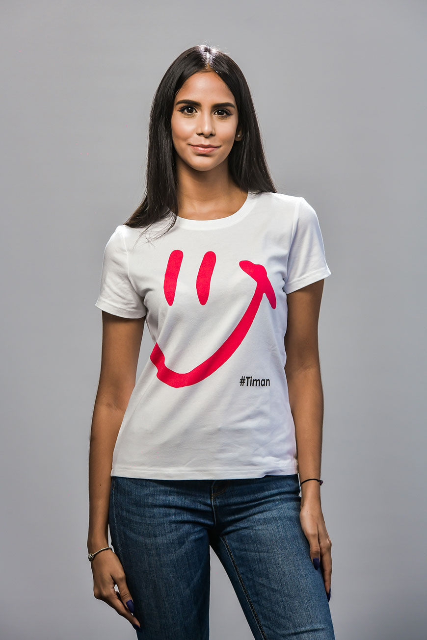 Women's Pink Luna White T-Shirt Model 1