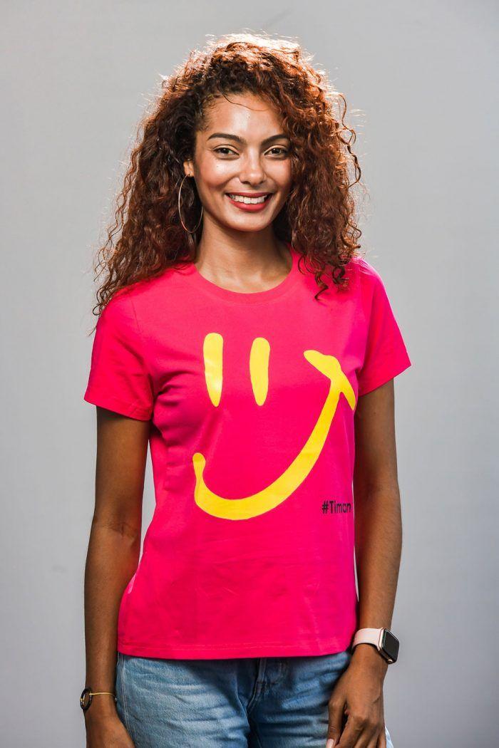 Women's Yellow Luna Fuschia T-Shirt Model 1