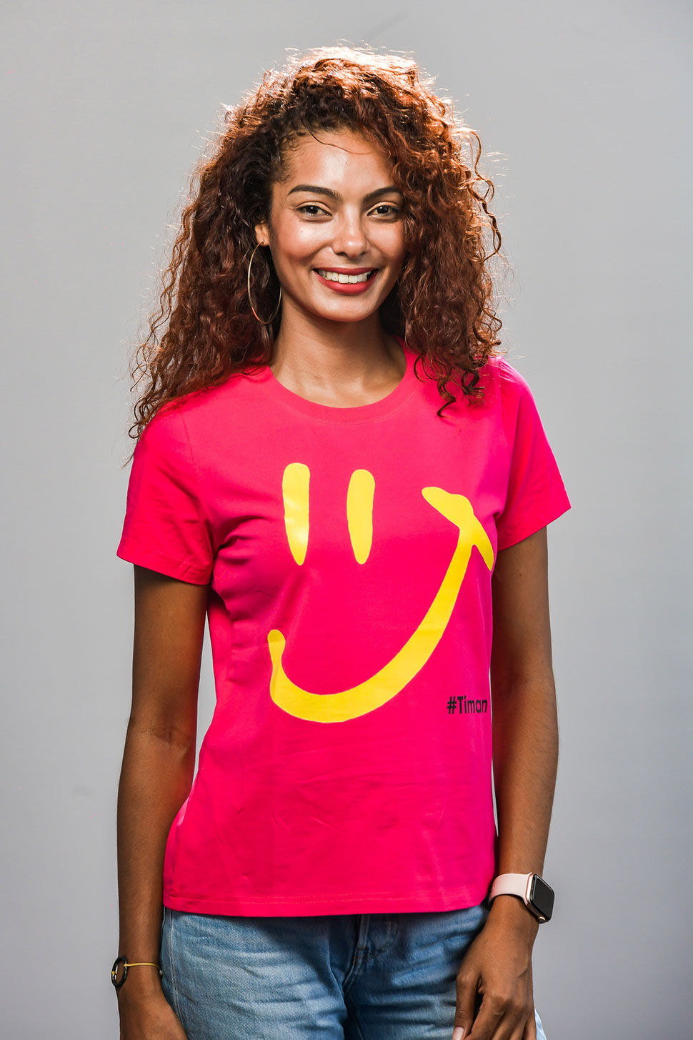Women's Yellow Luna Fuschia T-Shirt Model 1