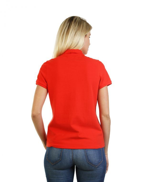 Women's Modern Fit Polo Red Print Back
