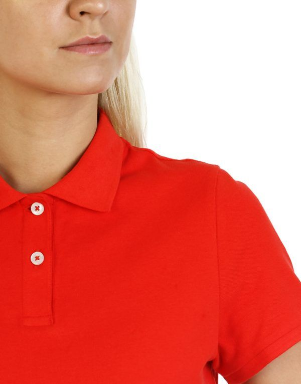 Women's Modern Fit Polo Red Print Close Up front