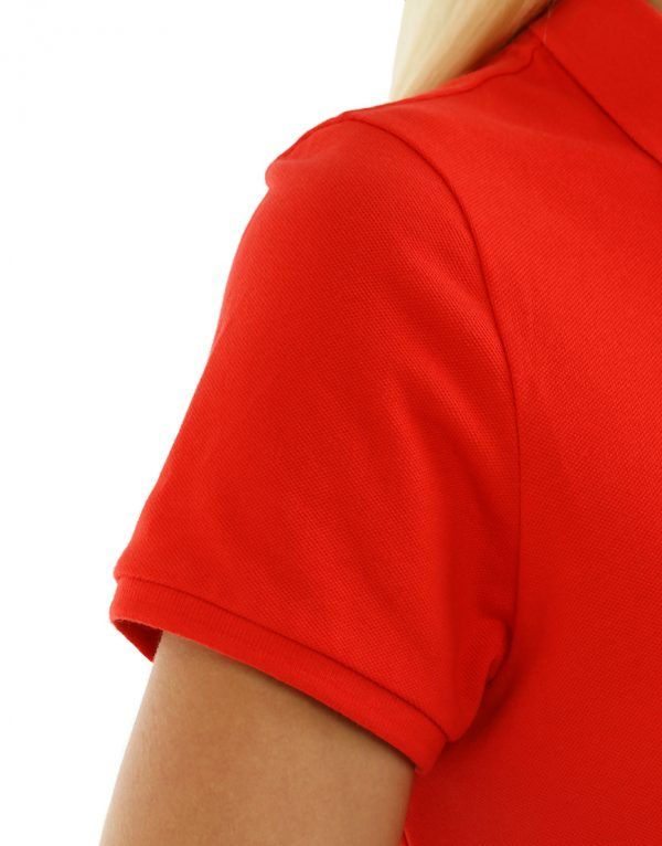 Women's Modern Fit Polo Red Print Close Up Side