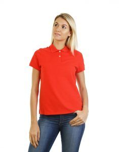 Women's Modern Fit Polo Red Print Front