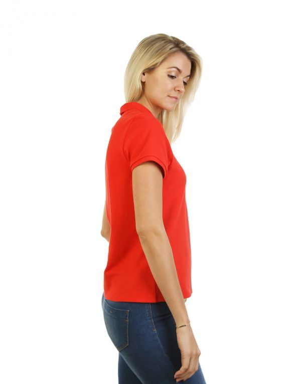 Women's Modern Fit Polo Red Print Side