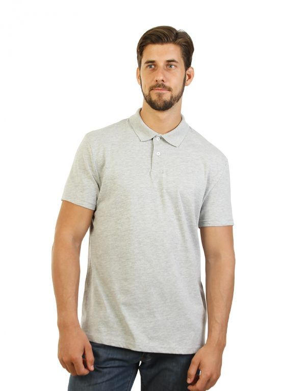 Unisex Grey Classic Polo Print - front