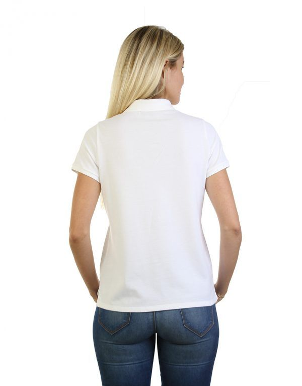 Women's white long durability Modern Fit Polo Embroidery back