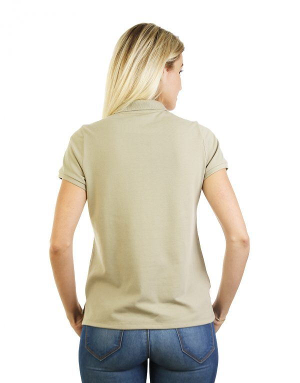 Women's beige long durability Modern Fit Polo Embroidery back