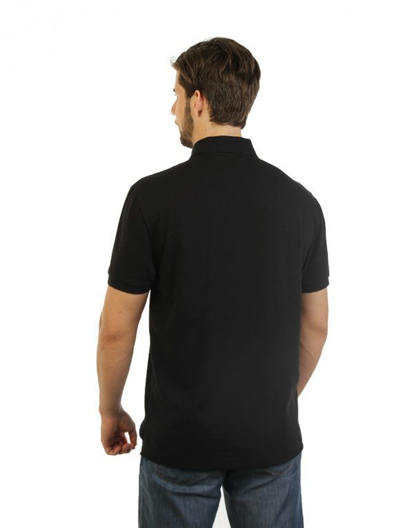 Men's black long durability Modern Fit Polo Print Side close front back