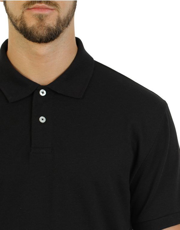 Men's black long durability Modern Fit Polo Print Side close front