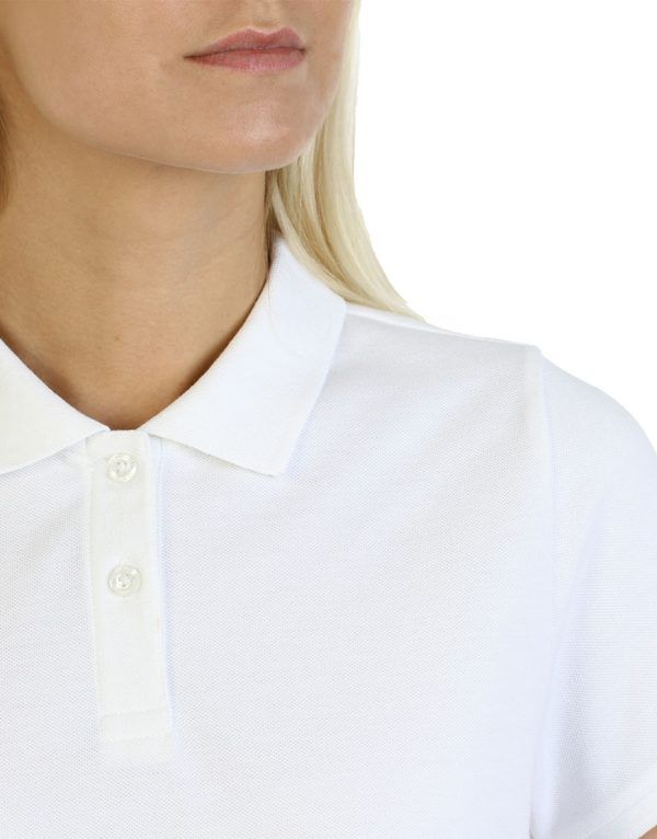 Women's white long durability Modern Fit Polo Embroidery close up front