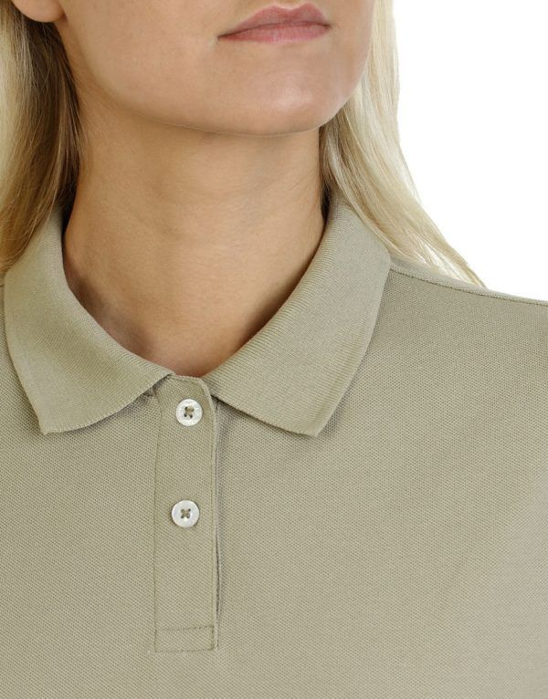 Women's beige long durability Modern Fit Polo Embroidery close up front