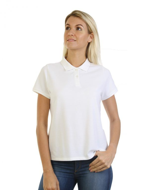 Women's white long durability Modern Fit Polo Embroidery front
