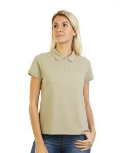 Women's beige long durability Modern Fit Polo Embroidery front