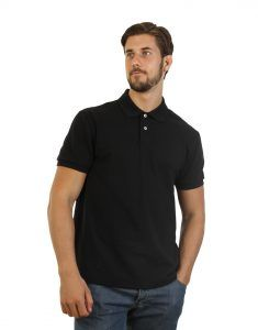 Men's black long durability Modern Fit Polo Print front