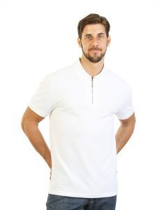 Man White Golfer Polo Shirt