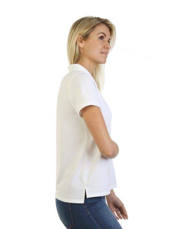 Women's white long durability Modern Fit Polo Embroidery side