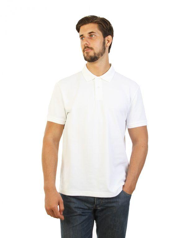 Men's long durability Modern Fit Polo Print White