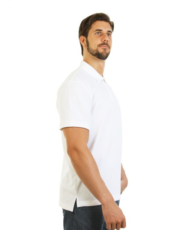 Men's long durability Modern Fit Polo Print White