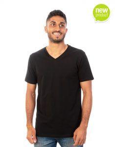 Men Black V-Neck T-shirt Front