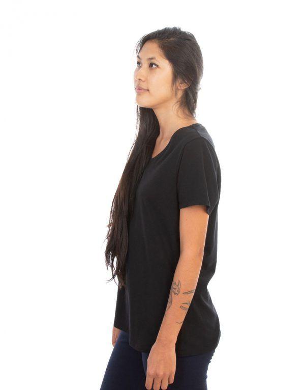 Ladies Black V-neck T-shirt