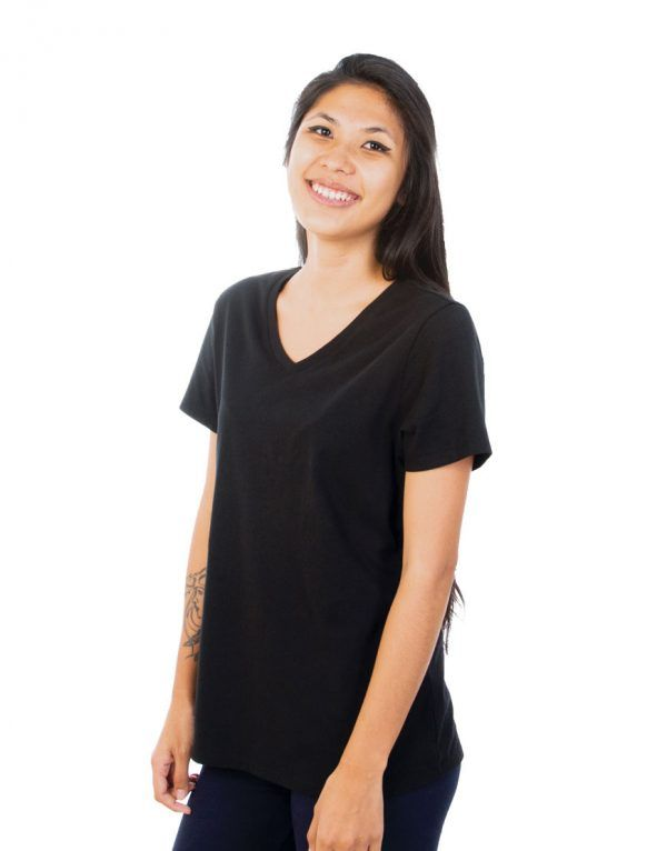 Women Black V-Neck T-shirt - Plain