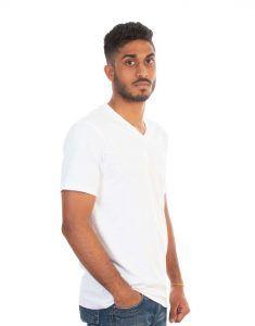 Men White Plain T-Shirt V-Neck