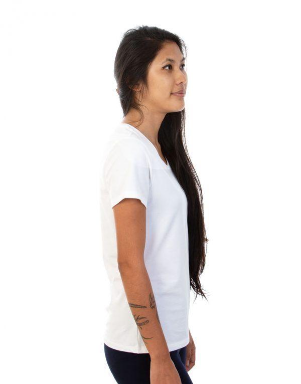 Ladies white V-Neck T-shirt