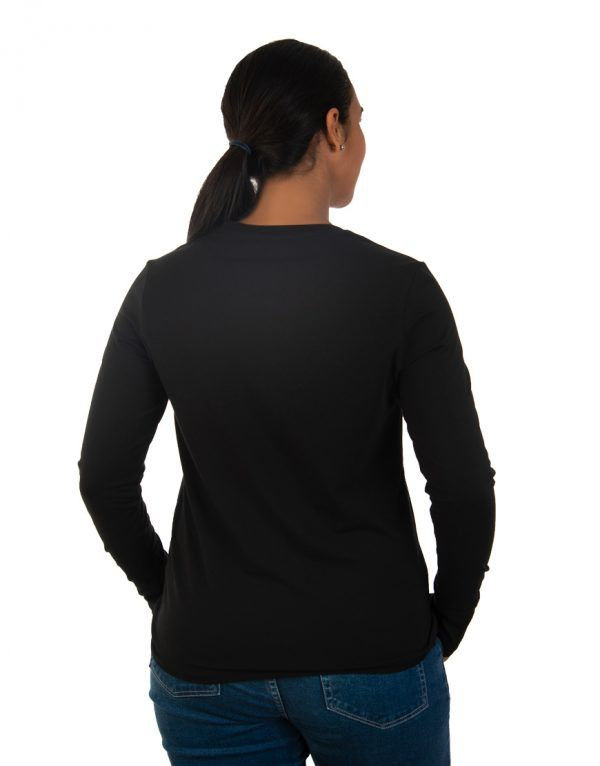 Women long black sleeve t-shirt back