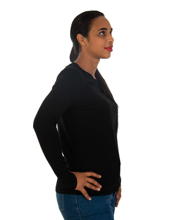 Women long black sleeve t-shirt side
