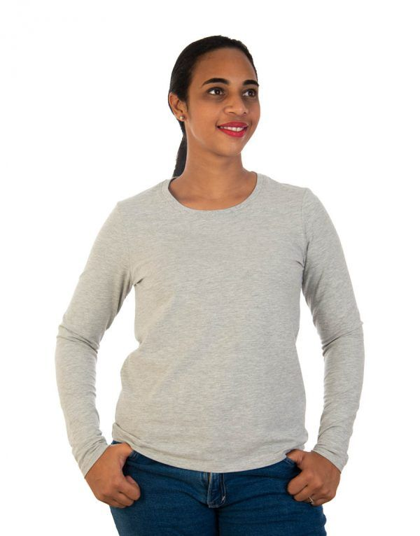 Women long grey sleeve t-shirt front