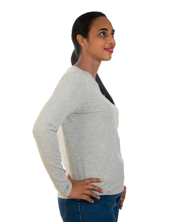 Women long grey sleeve t-shirt side