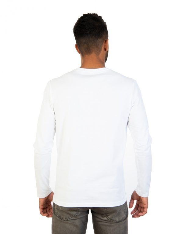 Men long white sleeve t-shirt back