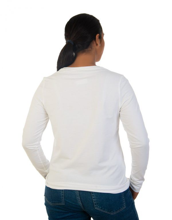 Women long white sleeve t-shirt back
