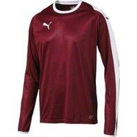 Puma Liga Voetbalshirt Lange Mouw - Bordeaux / Wit