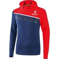 Erima 5-C Sweatshirt Met Capuchon - New Navy / Rood / Wit