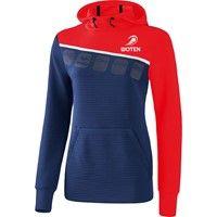Erima 5-C Sweatshirt Met Capuchon Dames - New Navy / Rood / Wit
