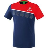 Erima 5-C T-Shirt - New Navy / Rood / Wit