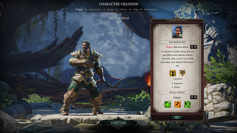 Divinity Original Sin 2 character creation screen