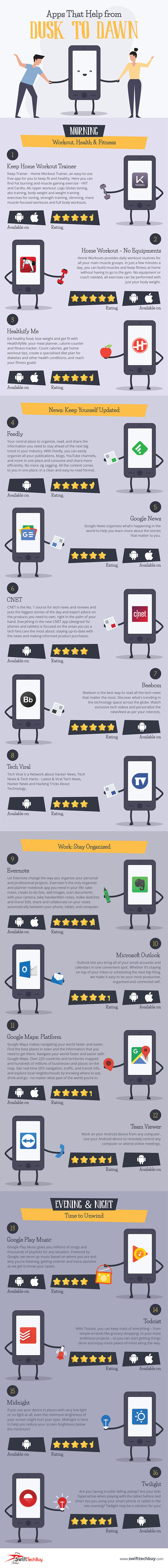Apps that Help from Dusk to Dawn infographic