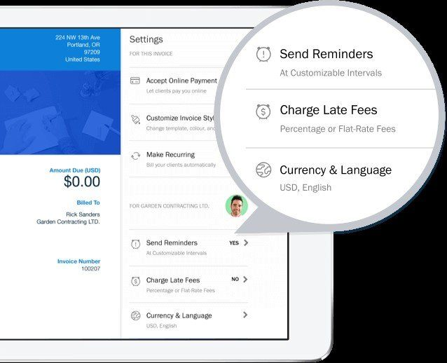 Freshbooks app dashboard