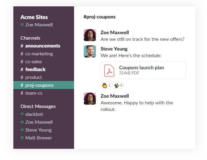 Slack app dashboard