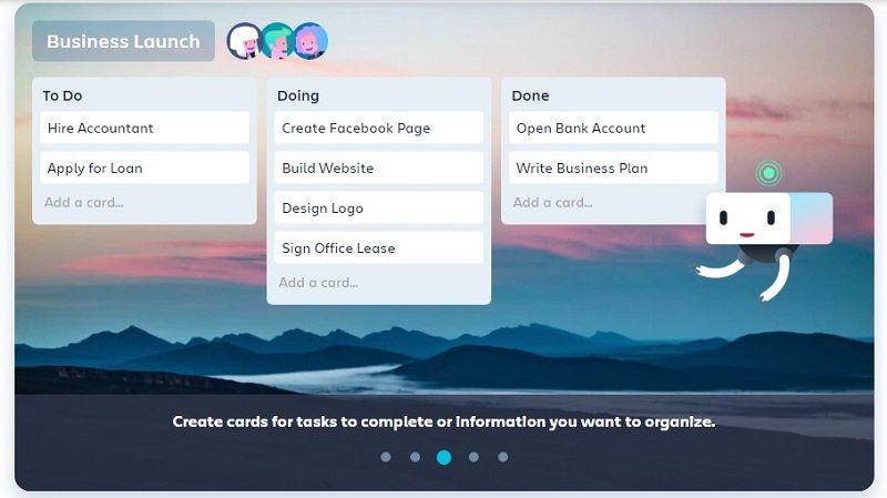 Trello app dashboard