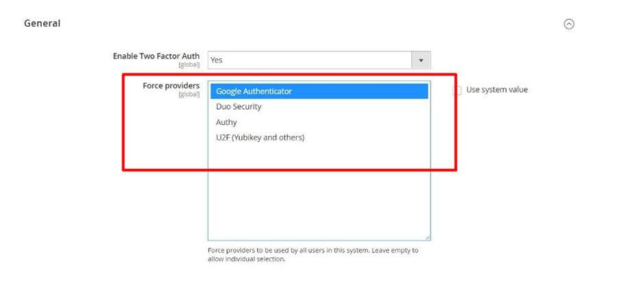Magento 2-factor authentication setup