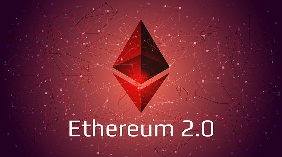 Ethereum 2.0 updated - cryptocurrency coin symbol on abstract po
