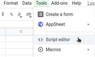 Cryptosheets addon script editor