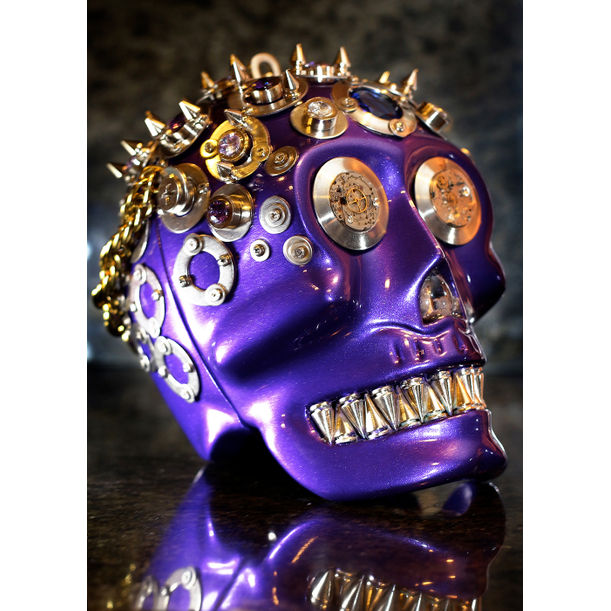 Violet Skull, From the Yorick Series (Scultpure / Handbag) by Michelline Syjuco
