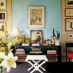 Albert Hadley Light Blue and Gold Room