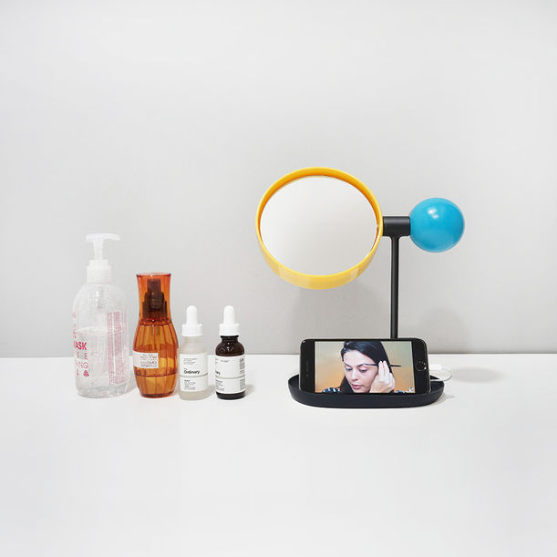 Ball Tabletop Mirror (Blue/Yellow/Black) by Rcube Design Studio