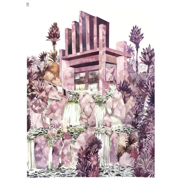 Pink Waterfall House by Pauline Di Valentin
